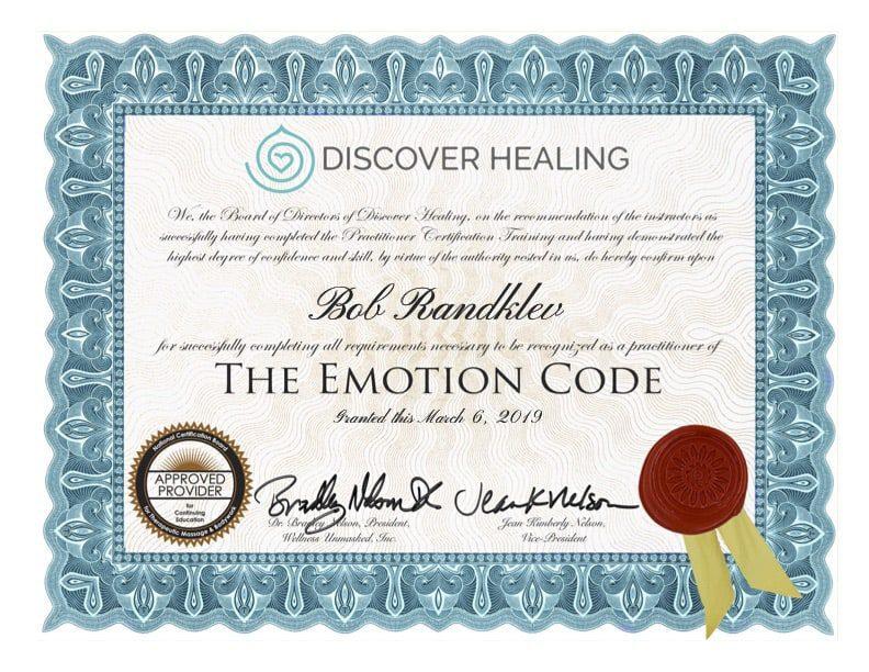 Bob Randklev Certified Emotion Code Practitioner Certificate