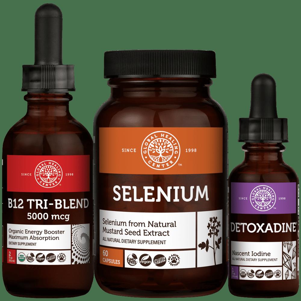 Thyroid Health Kit Featuring Nascent Iodine, Selenium Supplement & B12